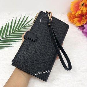 Michael Kors Bags - NWT Michael Kors Double Zip Wristlet Black/MK